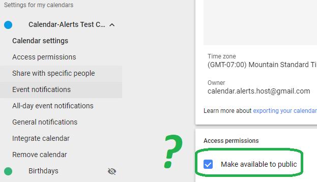 Calendar Alerts - Help